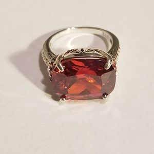 Jewelry - Ruby Red Emerald Cut 925 Ring